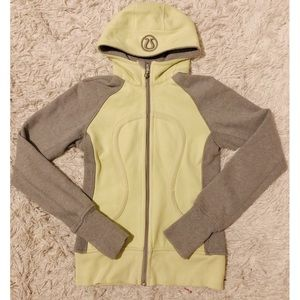 🌸LuluLemon Lime Green and Grey Scuba Hoodie